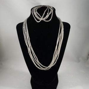 Mesh Silver Necklace and Bracelet